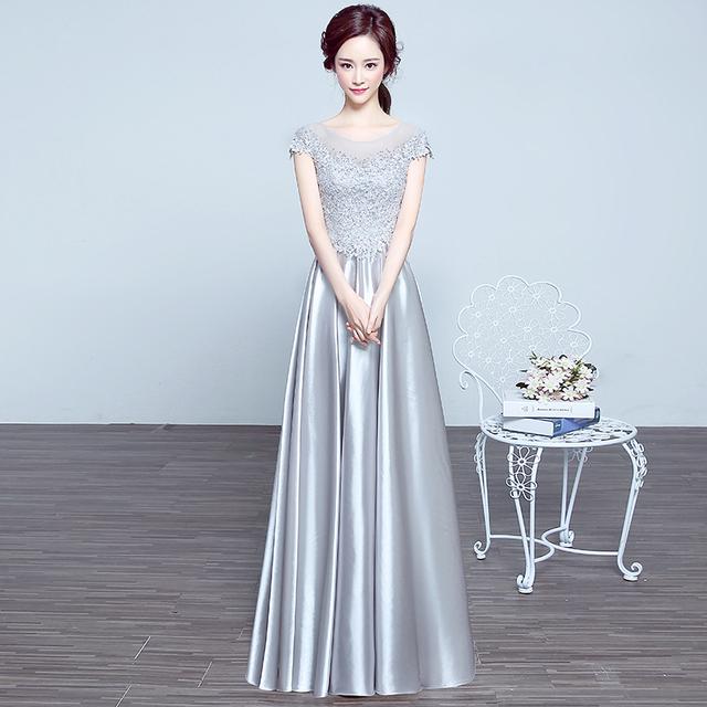 Apliques de luxo O-pescoço Curto Prata Manga Longa Plus Size Mãe Dos Vestidos de Noiva 2016 Transporte Rápido