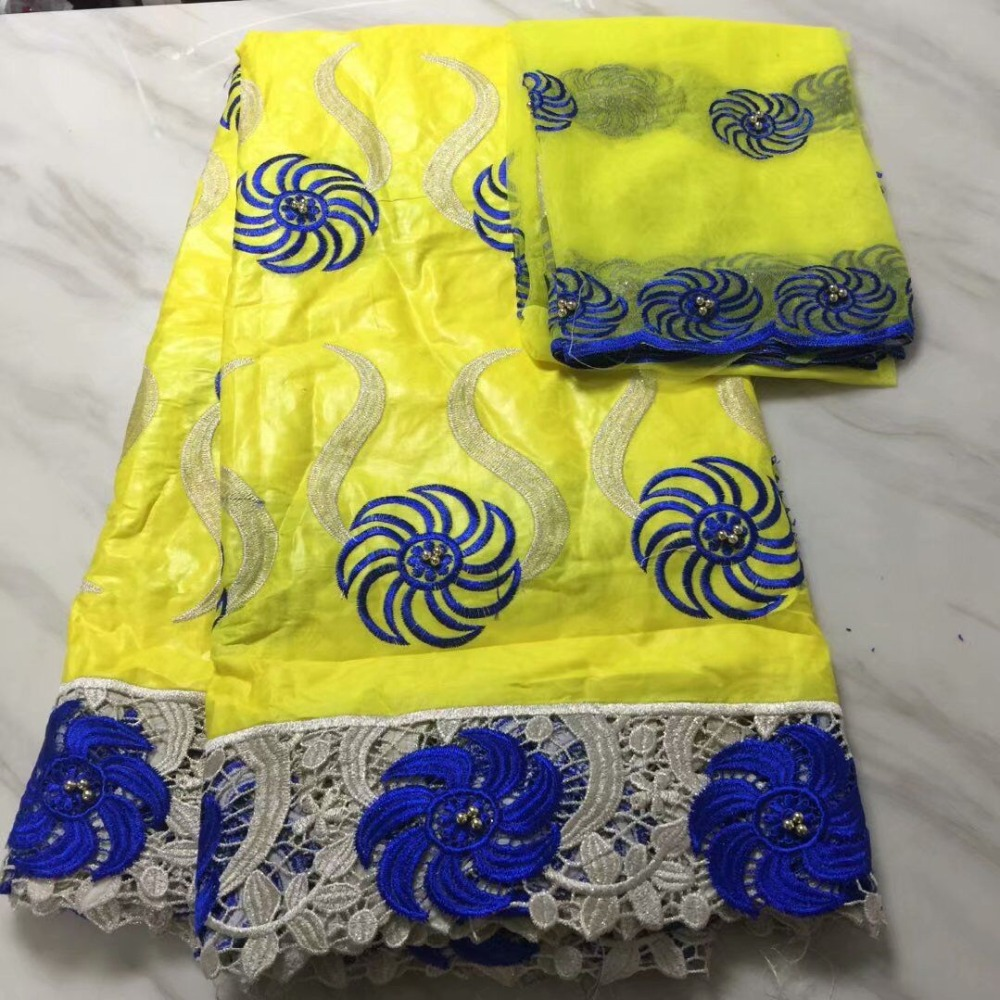 2018 New Design 5Yards+2Yards Beaded African Lace Fabric High Quality yellow Bazin Riche Getzner With French Net Lace Blouse2018 New Design 5Yards+2Yards Beaded African Lace Fabric High Quality yellow Bazin Riche Getzner With French Net Lace Blouse