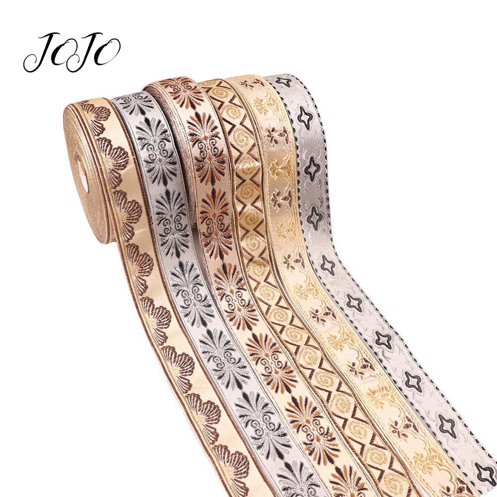 JOJO BOWS 30mm 5y Embroidery Ribbon Nationality Style Flower Pattern Tape For Clothing Apparel Sewing Material For Home Textile in Ribbons from Home Garden