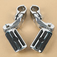 Chrome 1.25 32mm Short Angled Adjustable Highway Foot Pegs/Peg Mount For Harley