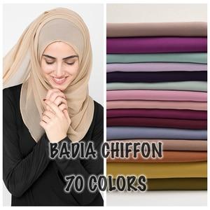 Image 1 - 10pcs/lot high quality women muslim chiffon scarf islamic georgette scarfs shawls headwear long wraps solid plain chiffon hijabs