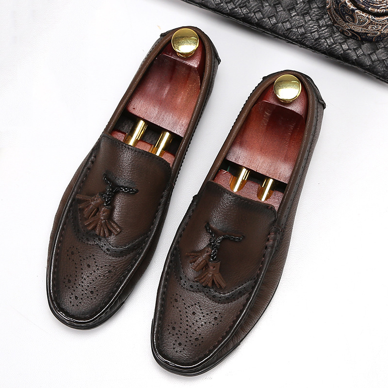 DESAI Genuine Leather Handmade Black Brown Mens Loafers With Tassel Man Business Driving Shoes Wedding Moccasin Party FootwearDESAI Genuine Leather Handmade Black Brown Mens Loafers With Tassel Man Business Driving Shoes Wedding Moccasin Party Footwear