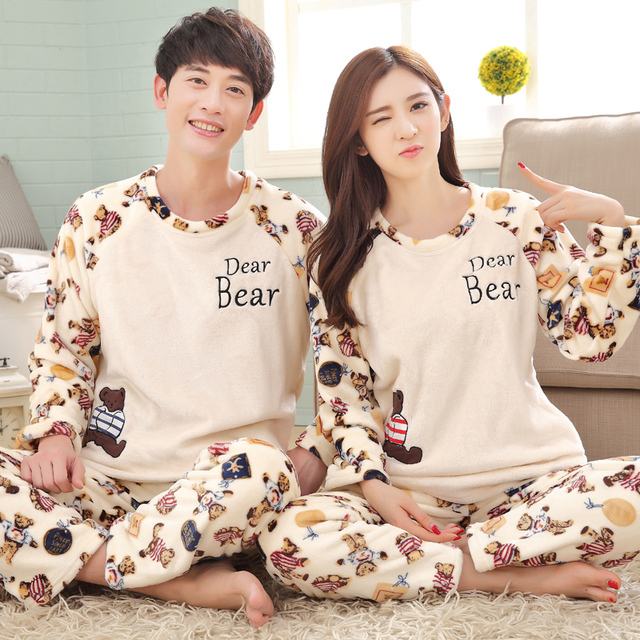 717d750f0b4f Free shipping lovers thickening long-sleeve flannel couples pajamas sets plus  size cute bear casual nightdress