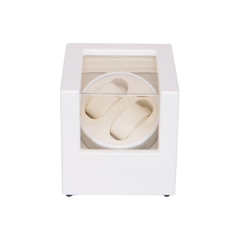 Watch Winder ,LT Wooden Automatic Rotation 2+0 Watch Winder Storage Case Display Box (Outside is white and inside is white) watch winder lt wooden automatic rotation 6 7 watch winder storage case display box rose red and inside is white