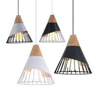 Luzes pingente de madeira moderna lâmpada industrial loft nordic lâmpada pendurada cozinha pingente design quarto sala jantar luzes e27|Luzes de pendentes|   -
