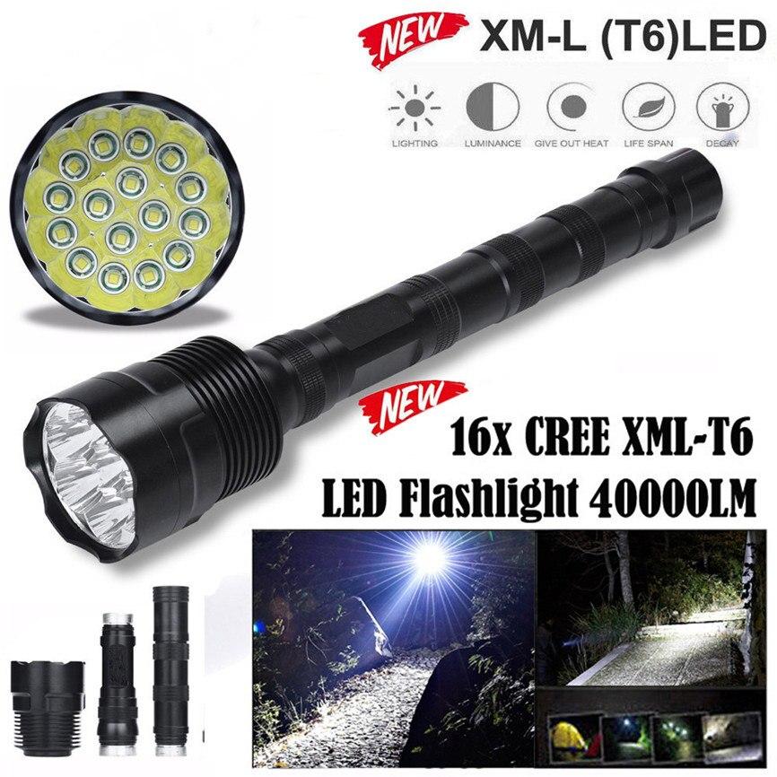 Super 2017 40000 Lumens 16x CREE XML T6 5 Mode 18650 Super Bright LED Flashlight Dropshipping B35 босоножки super mode super mode su013awtqd99