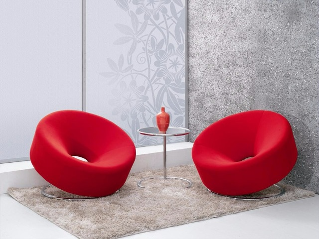 Living Room Leisure Chair Red Velvet Round Casual Chair Made In China
