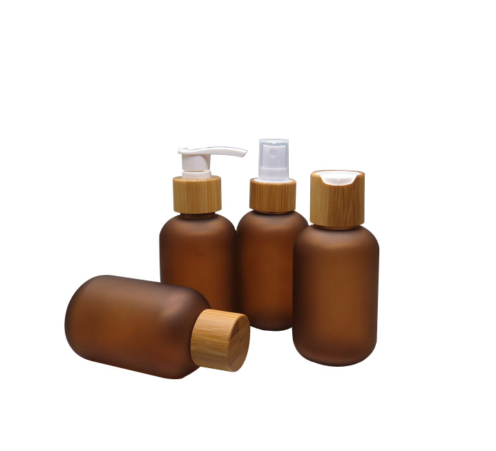 100pcs 120ml Amber Frosted Plastic Lotion Bottle with Bamboo Cap Screw Lid Pump Nozzle Spray Atomizer