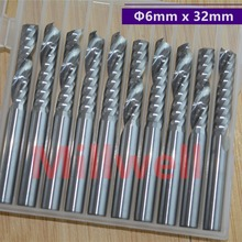 6mm*32mm 10pcs,CNC solid carbide woodworking end mill,wood milling cutter,1 Flute spiral end mill,PVC,MDF,acrylic,wood tool
