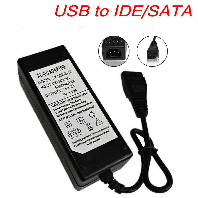 12V/5V 2.5A USB To IDE/SATA Power Supply Adapter Hard Drive/HDD/CD-ROM AC DC