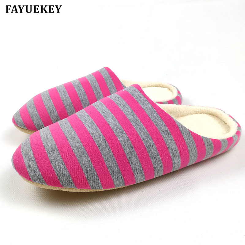 FAYUEKEY 2017 Soft Sole Spring Autumn Winter Warm Home Cotton Plush Striped Slippers Women Indoor\ Floor Flat Shoes Girls Gift soft plush big feet pattern winter slippers