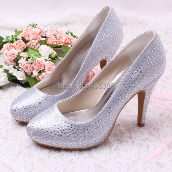 ФОТО Wedopus Super Quality Handmade Rhinstone Silver Ladies High Heel Wedding Evening Shoes Dropship