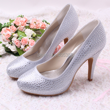 Wedopus Super Quality Handmade Rhinstone Silver Ladies High Heel Wedding Evening Shoes Dropship