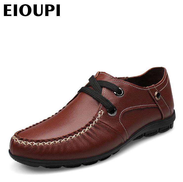 EIOUPI top quality new design genuine real leather mens fashion business casual shoe breathable men shoes lh1288 hot theme masonic freemason freemasonry g pocket watch men gift watch free shipping p1198