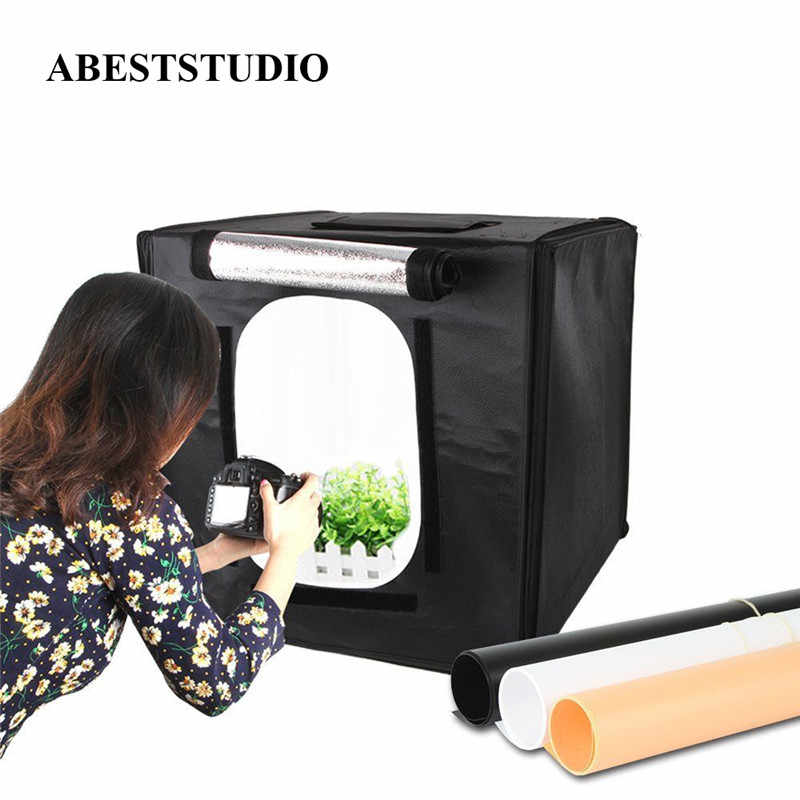 ABESTSTUDIO 40*40 cm LED Photo Studio Softbox Portátil Mini Estúdio de Fotografia LEVOU Luz Difusor Caixa Macia Tenda Kit