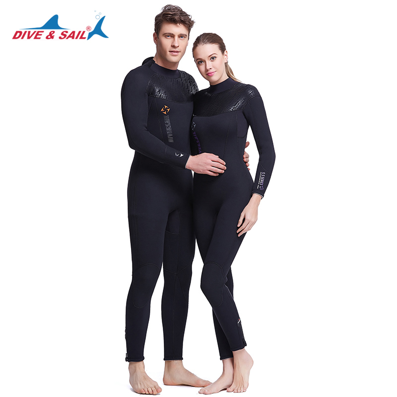 DIVE&SAIL Full Body 5MM Neoprene SCR Scuba Diving Wetsuit Fleece Lining for Men Warm Winter Swimming Surfing Thicker Diving Suit hisea 5mm neoprene wetsuit men scuba diving suit fleece lining warm snorkeling kite surfing spearfishing swim suit