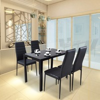 Tempered Glass Dining Table for 4 Dining Room Furniture Dropshipping