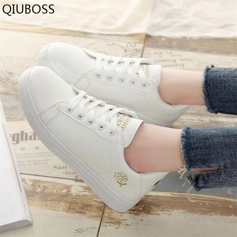 2018 New Spring Summer Tenis Feminino Lace-Up Valkoinen Kengät - Naisten kengät