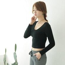 Fashion autumn Sexy Crop Top Ladies long Sleeve t shirt Beau