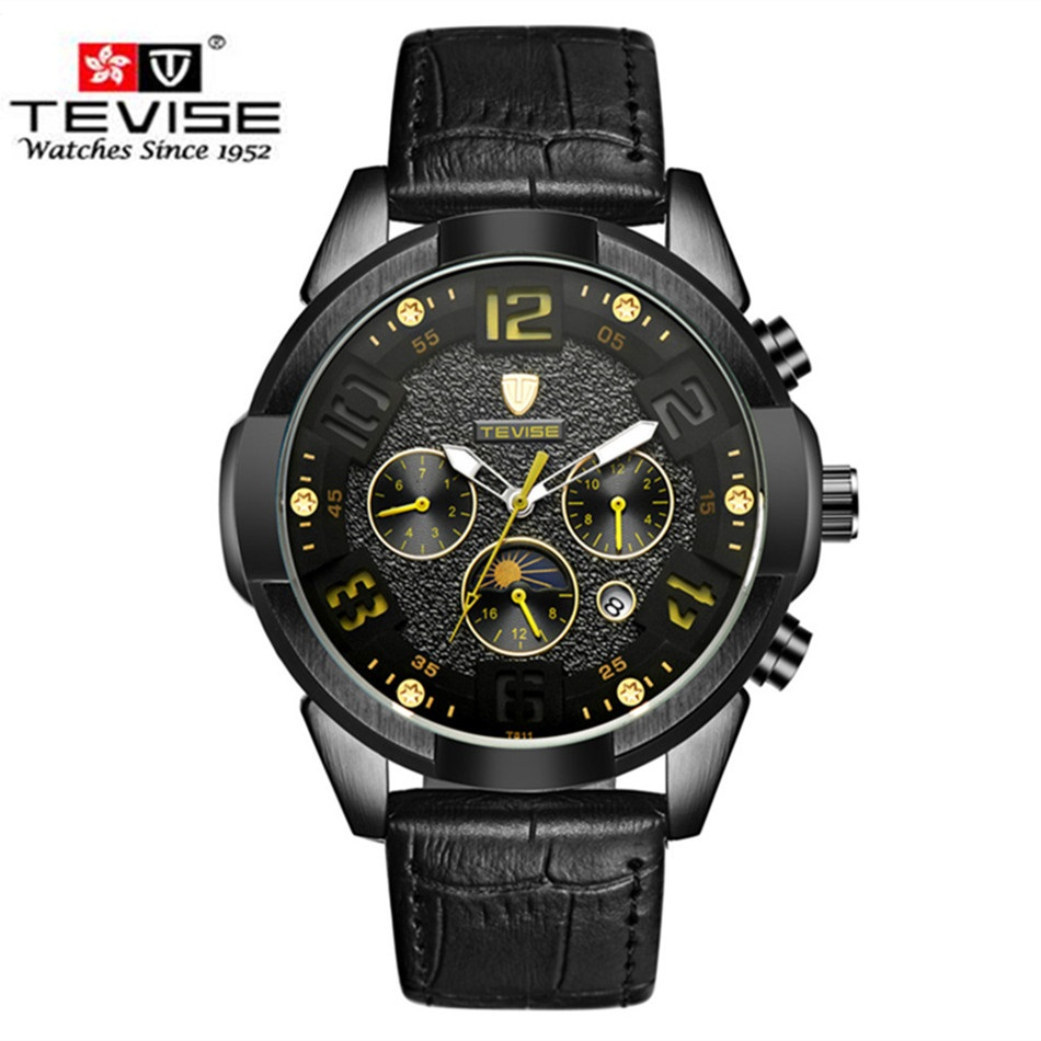 Men Watch Automatic Leather Luxury Brand TEVISE Sport Mechanical Watches Moon Prase Military Watch Waterproof Relogio Masculino tevise fashion auto date automatic self wind watches stainless steel luxury gold black watch men mechanical t629a with tool