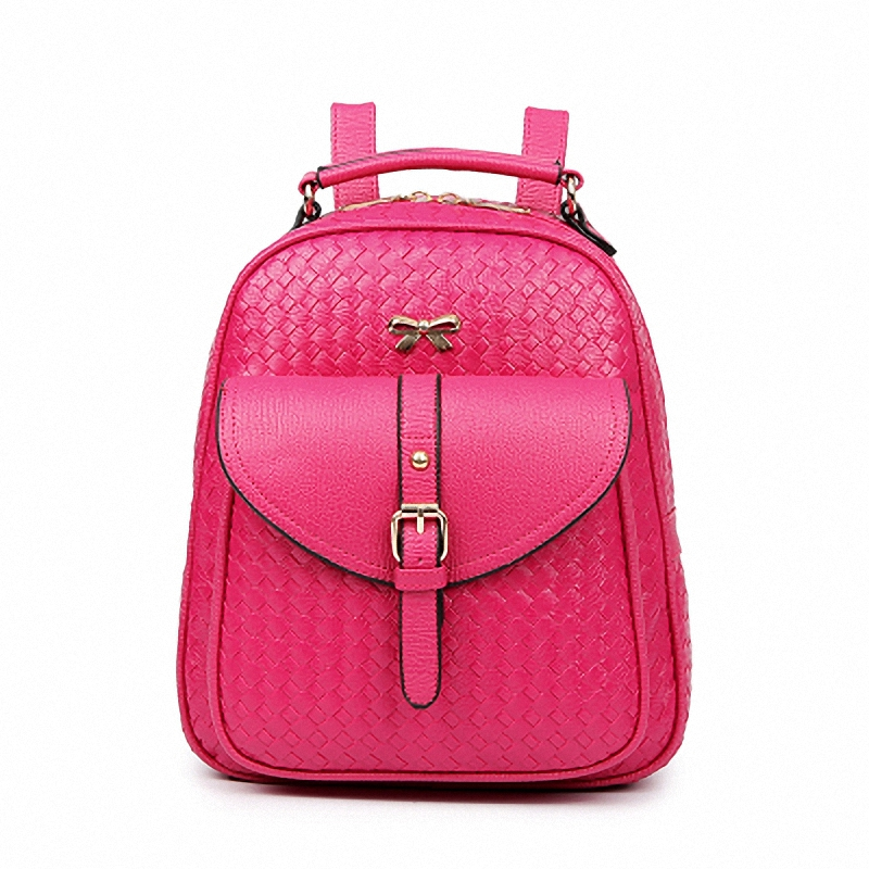 DIZHIGE Brand Women Leather Weave Backpack Designer Kanken Shool Travel Bag For Girl Rucksack Mochila Sac A Dos Female Back Pack