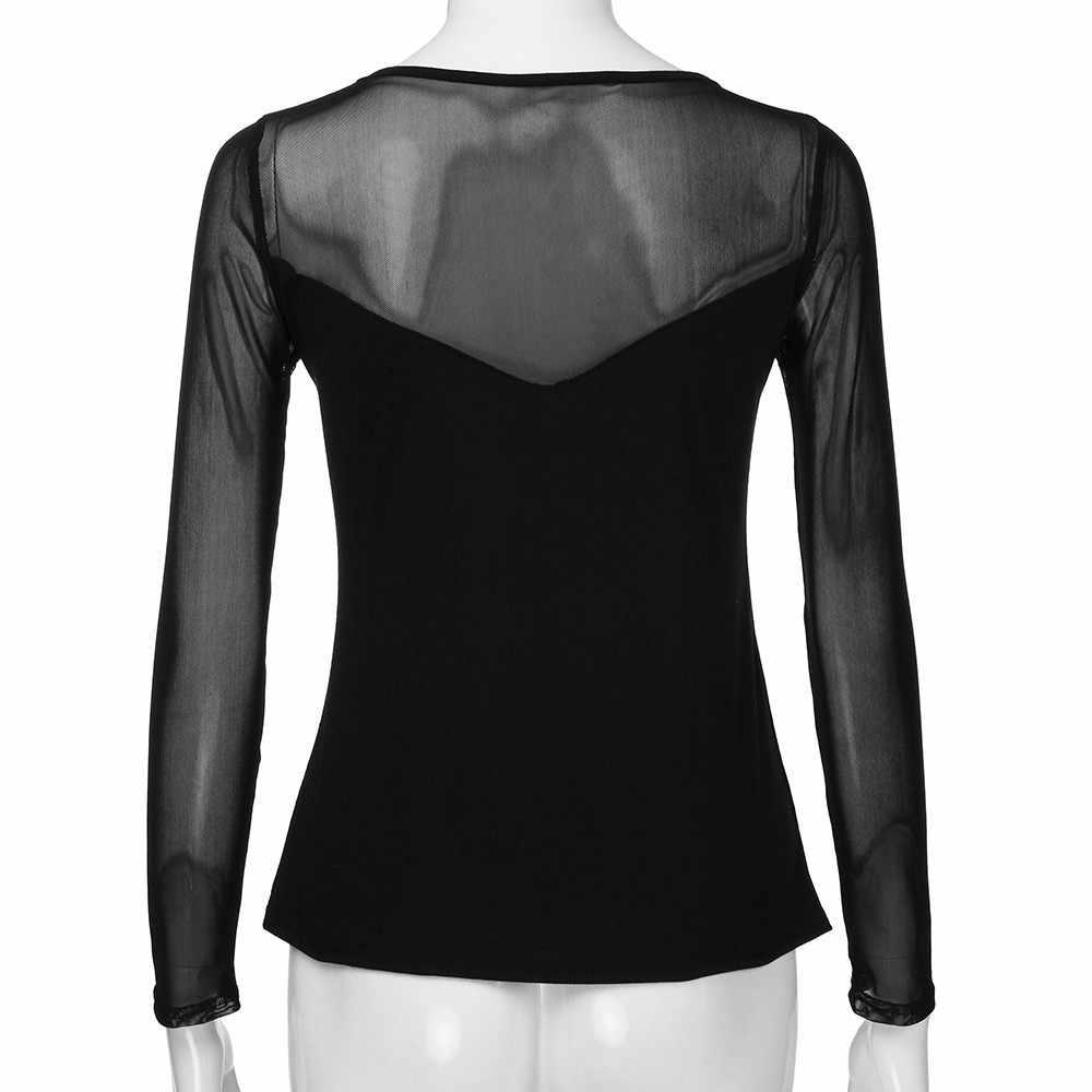 2018 Sexy T Shirt Wanita Hitam Lengan Panjang Kemeja Mesh Perspektif Solid O-Leher T-shirt Transparan Tops/PY
