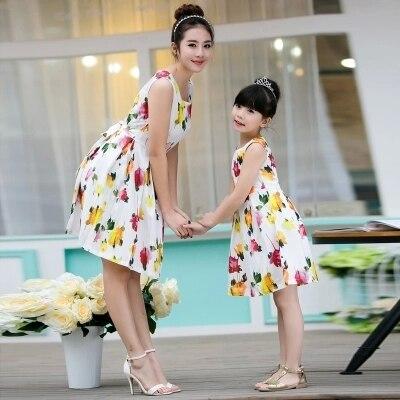 Parent child dress beach dress and install new summer 2016 han edition floral vest beach parent