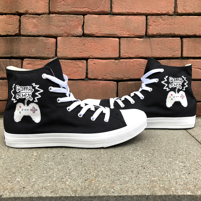 Wen Original Design Joypad Game Console GAME OVER Canvas Slogan Shoes Black White Men Women Skateboard Sneaker High Top Footwear