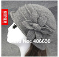 Winter Woolen Floral Women Bucket Hat Vintage Dress Wool Hat For Women Ladies Church Hat Free Shipping SDDW-012