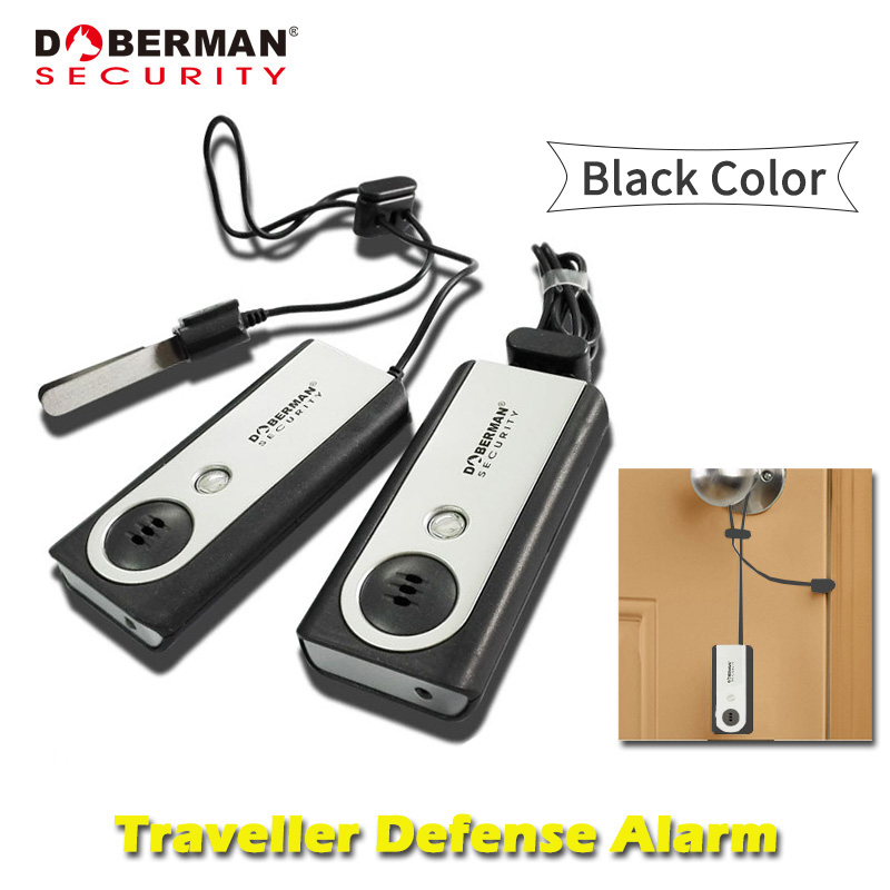 Doberman Security Traveller Defense Alarm Black Color Security Protection Portable Door Alarm with Flash Light Sensor Detector portable anti theft alarm door portable flashlight sensor alarm detector traveler people bag purse defense alarm led light