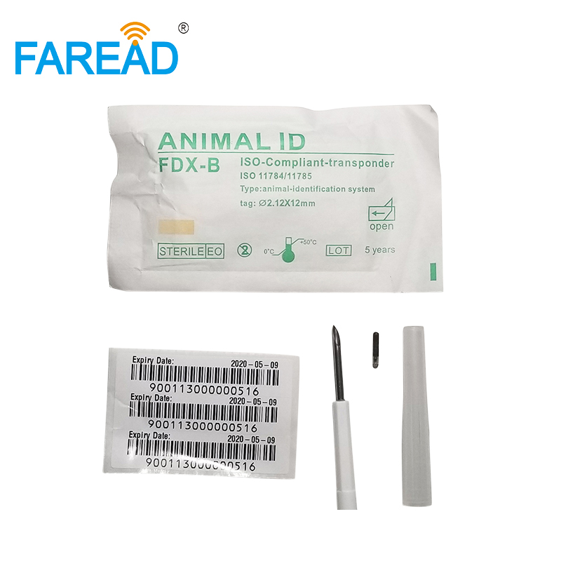 X100pcs Resuable RFID Injector With Needle FDX-B ISO11784/85 134.2KHz 2.12x12mm Implant Animal Microchip For Pet Livestock
