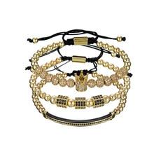 PINIYA 3pcs/Set CZ Pave Setting Crown Charm Braiding Bracelets Luxury Cubic Zircon Moon Tube FireBall Macrame