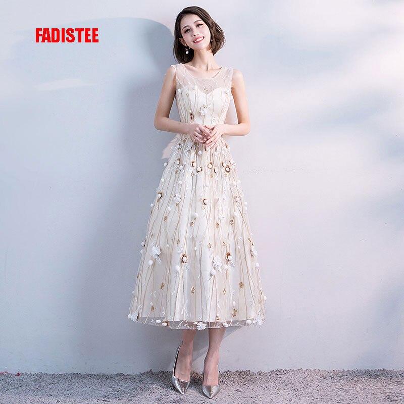 FADISTEE Elegant Prom Party Dresses Lace Robe De Mariage Tea-length Style Dresses Vestido De Noiva 3D-floral Print A-line Lace
