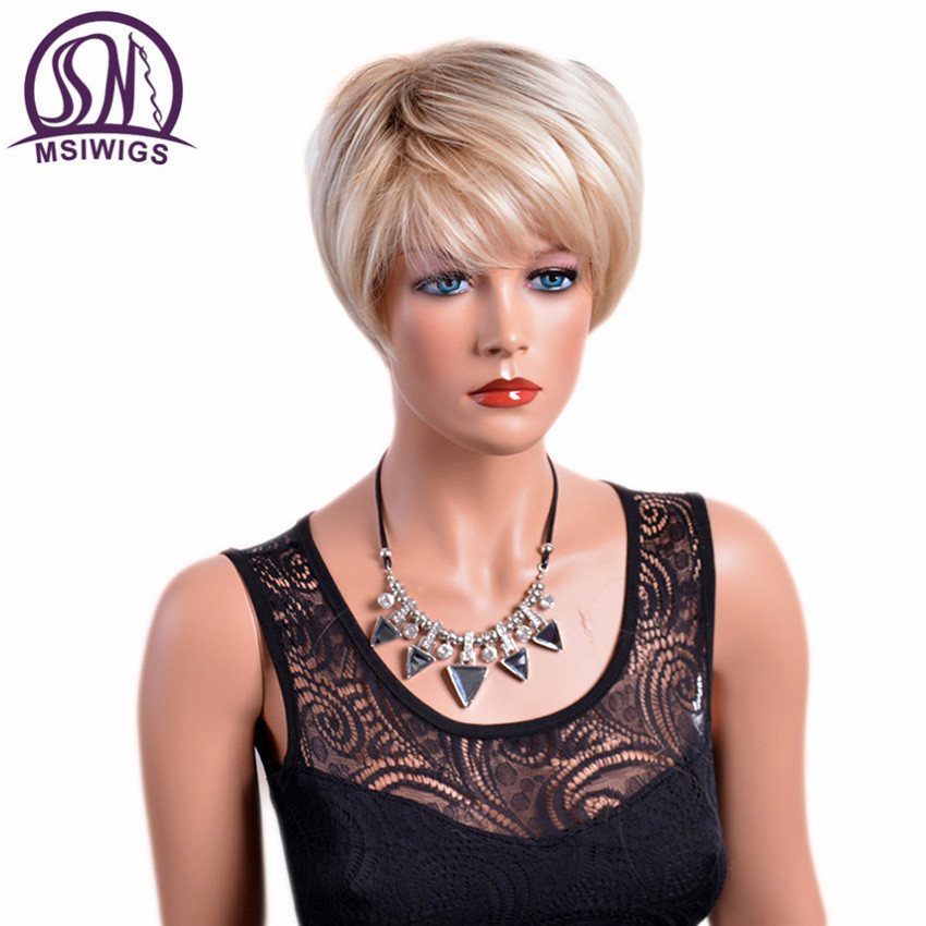 MSIWIGS White Blonde Ombre Straight Short Wigs With Bangs High Temperature Fiber Synthetic Brown Wig For Elder Women