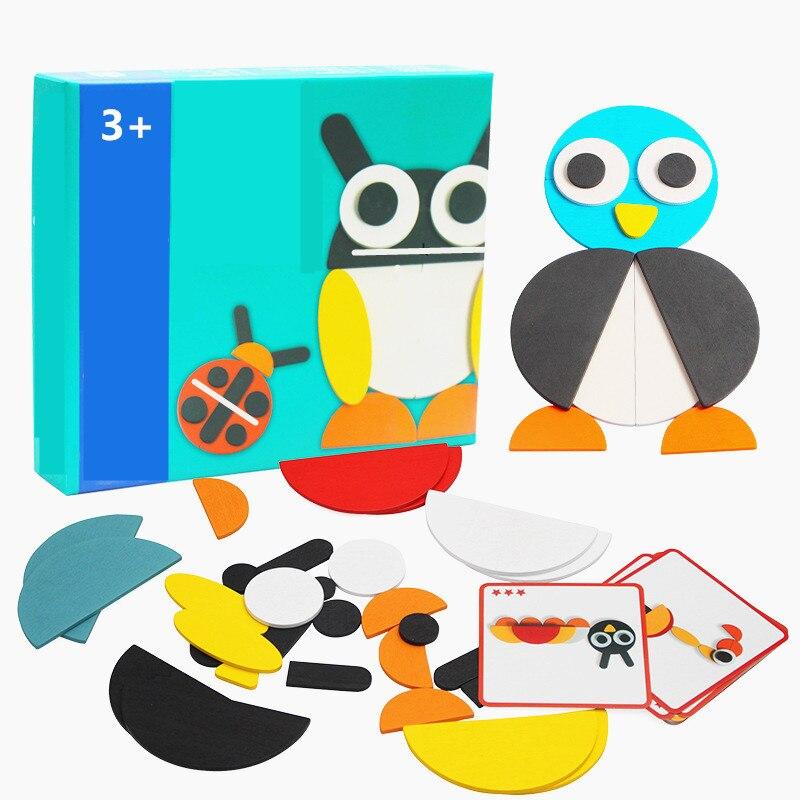 50 pcs Animal en bois Puzzle conseil ensemble coloré bébé éducatif en bois jouet pour les enfants apprenant des jouets en développement