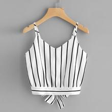 Crop Top V Neck Striped Summer Tops For Women Blouse Tank Top