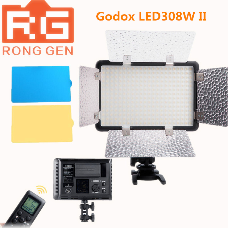NEW Godox LED308W II White light 5600K LED Video Light Lamp + Remote for DV Camcorder Camera godox professional led video light led308w wireless 433mhz grouping system 308 led bulbs of high brightness white version