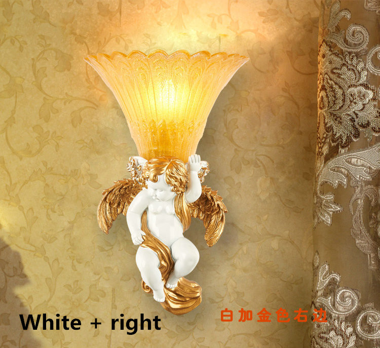 European Angel wall lamps led lamps dining room living room resin wall lamp E27 led light led lustre wall lights