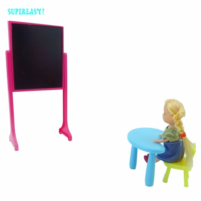 Fashion Clroom Blackboard Chair Desk School Education Furniture Accessories For Barbie Sister Kelly Doll