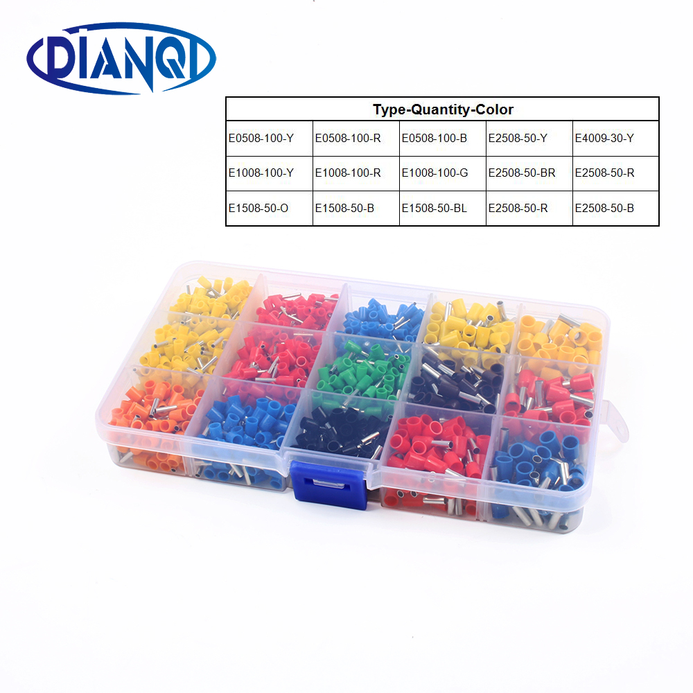 1000pcs/lot Bootlace cooper Ferrules kit set Wire Copper Crimp Connector Insulated Cord Pin End Terminal 1000pcs dupont jumper wire cable housing female pin contor terminal 2 54mm new