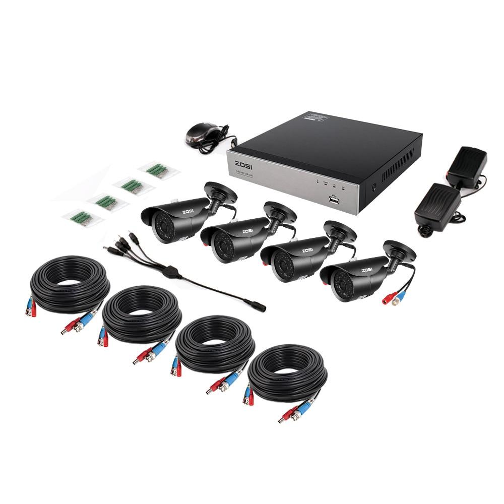 ZOSI 8CH 1080P HD-TVI Security Camera CCTV System P2P IR Night Vision 4PCS 2.0MP Outdoor HD Camera Surveillance Kit APP View
