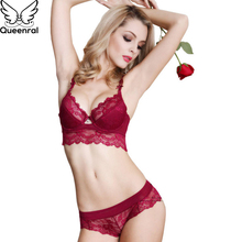 Queenral Lace Underwear Set For Women Lingerie Bra Set Sexy Push Up Bra And Brief Set Comfortable Breathable Underwire Intimates