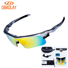 OBAOLAY 5 Lens Cycling Glasses Polarized Outdoor Sport Goggles Bicycle Sunglasses Fishing Eyewear oculos ciclismo