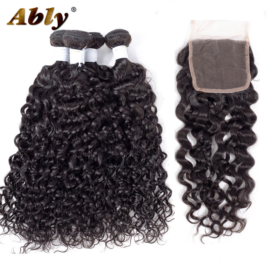 Water Wave Bundles With Closure Ably 100% Malaysian Remy Hair Weft Weave Virgo Wet And Wavy Human Hair 4 Bundles With Closure