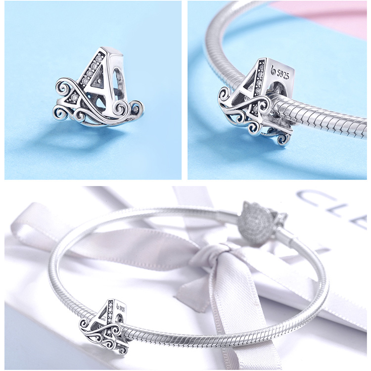 BAMOER Hot Sale 925 Sterling Silver Letter Alphabet A to Z Beads Charms Fit Charm Bracelets Bangles Jewelry Accessories BSC030