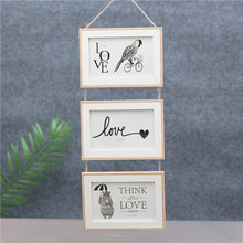Triple Wall-Mounted Wooden Photo Frame Exquisite Style Decoration Creative Wall Partner Pendant