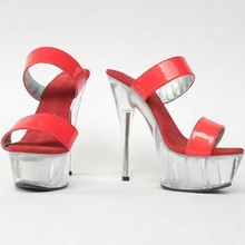 The new listing 15cm thick bottom high-heeled sandals printed fashionable Europe and Korea ladies shoes nightclub Slippers