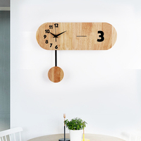 Simple pastoral wooden Home Decoration wall clock stylish White Oak wooden living room art wall clock