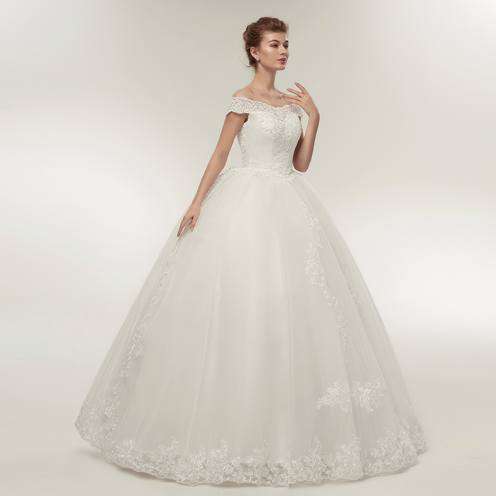 Fansmile Korean Lace Applique Ball Gowns Wedding Dresses 2019 Plus Size  Bridal Dress Princess Wedding Gown Real Photo FSM-003F