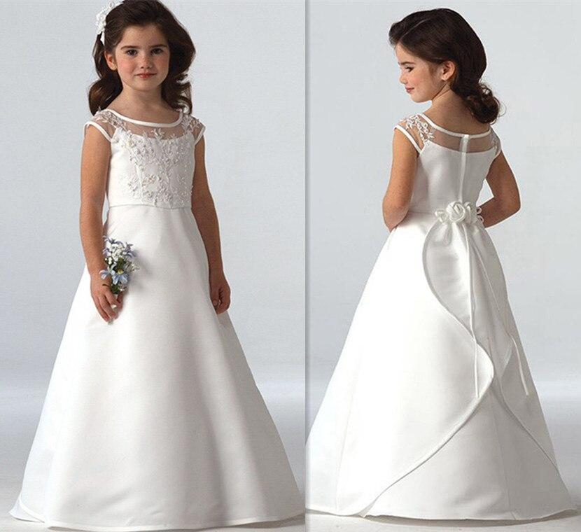 Nuevo sólido blanco marfil barato vestido de niña de flores con ...